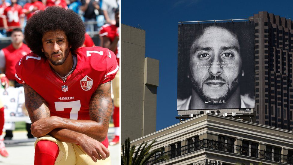 Collage of Colin Kaepernick kneeling, and on a billboard for Nike