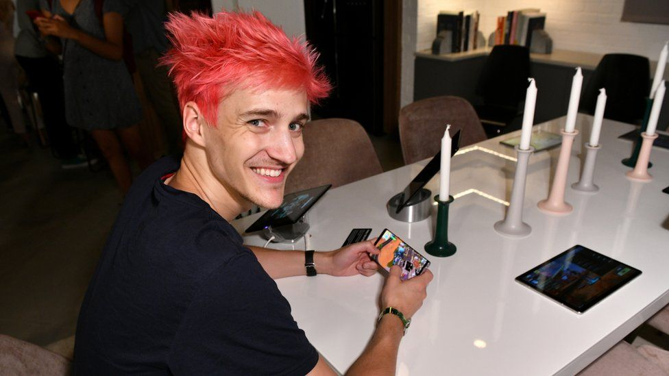 Tyler 'Ninja' Blevins playing Fortnite on the Samsung Galaxy Note9 at Samsung's launch event in New York City.