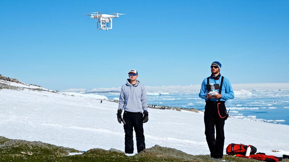 Thomas Sayre-McCord (WHOI/MIT) and Philip McDowall (Stonybrook University) pilot a quadcopter