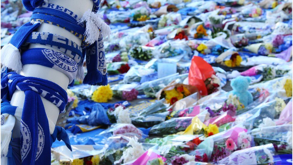 Fans have been leaving tributes outside the King Power stadium