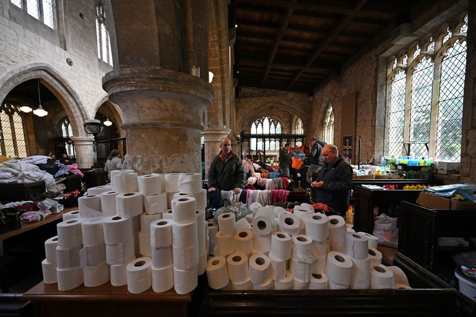 Supplies piled up in the church