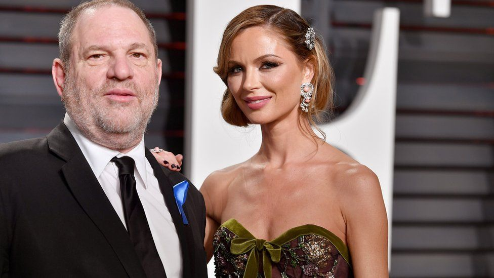 Harvey Weinstein (L) and fashion designer Georgina Chapman attend the 2017 Vanity Fair Oscar Party
