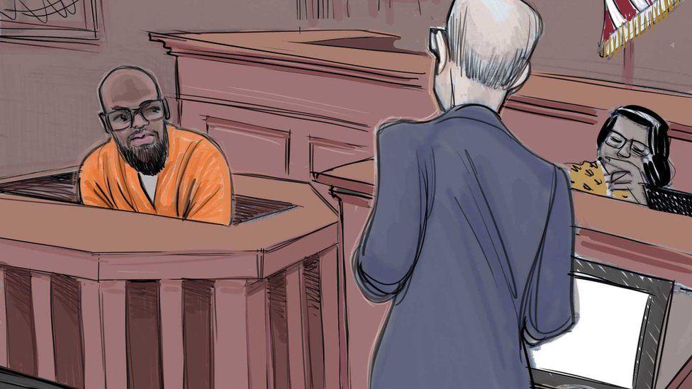Court sketch of Gondo testifying