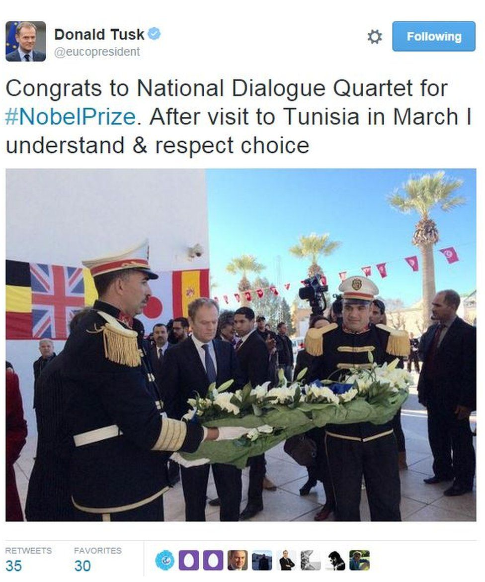 Donald Tusk tweets: Congrats to National Dialogue Quartet for #NobelPrize. After visit to Tunisia in March I understand & respect choice