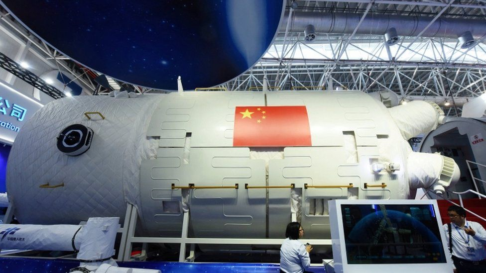 A full-size model of the Tianhe core module of China's space station