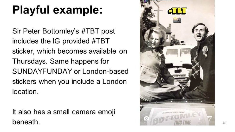 "Slide: ""playful example"", Sir Peter Bottomley and Margaret Thatcher campaigning"