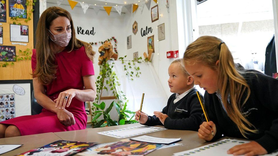 The Duchess of Cambridge at a school in Cornwall