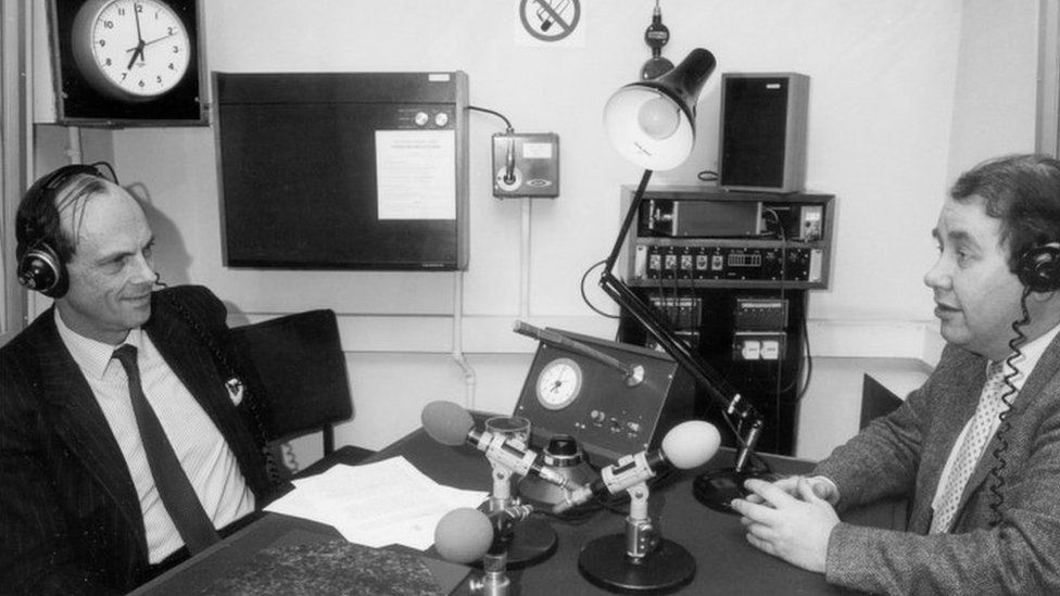 Patrick Hannan interviewing Conservative politician Nicholas Edwards in the early 1980s