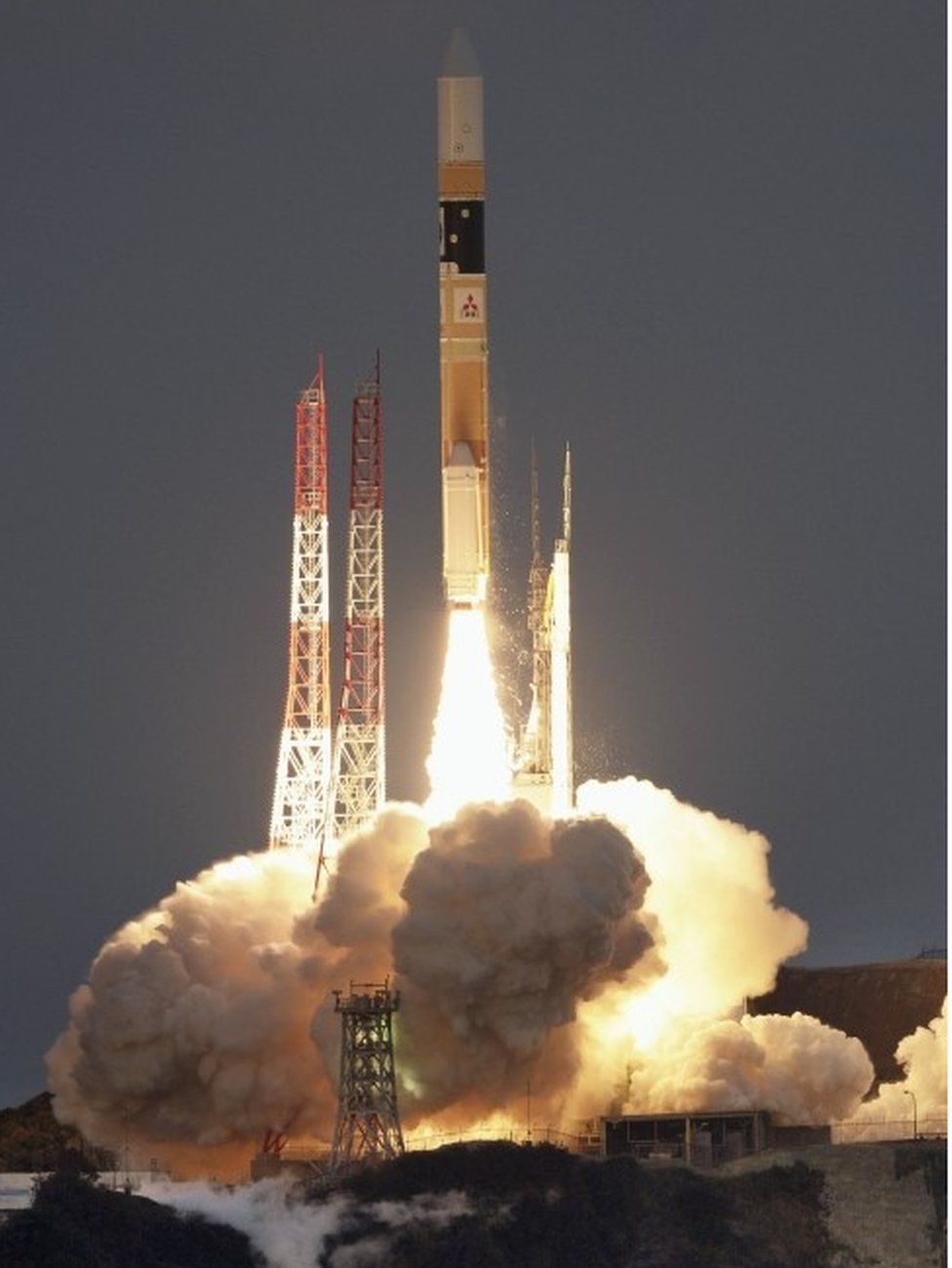 "A H-IIA rocket, carrying X-ray astronomy satellite ""ASTRO-H"", lifts off from the launch pad at Tanegashima Space Center on the Japanese southwestern island of Tanegashima, in this photo taken by Kyodo February 17, 2016."