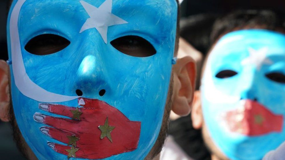 People protest at a Uighur rally in front of the US Mission to the United Nations - 5 February 2019