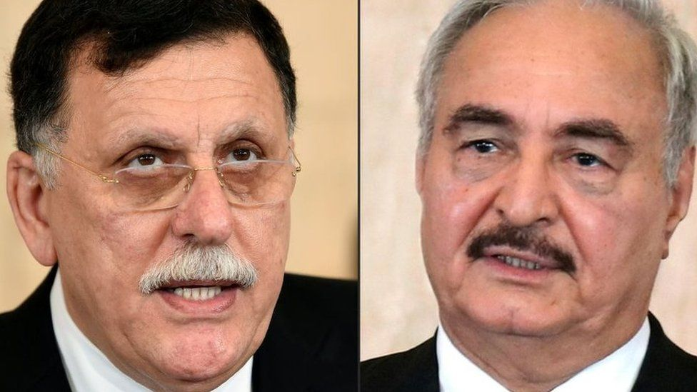 Libya's UN-backed Prime Minister Fayez al-Sarraj (l) and Gen Khalifa Hafta