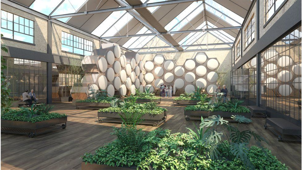 An artist vision of a future Recompose facility shows circular vessels in a honeycomb structure in a garden