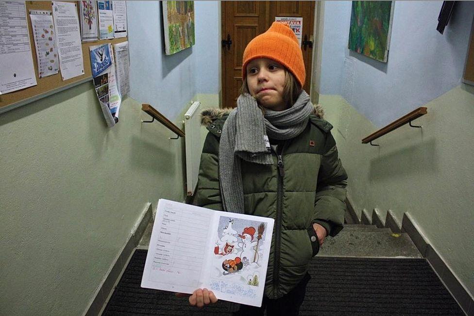 """Первые """"колы"""" Каспера в начальной школе Праги. Январь 2017 года, Чехия"""