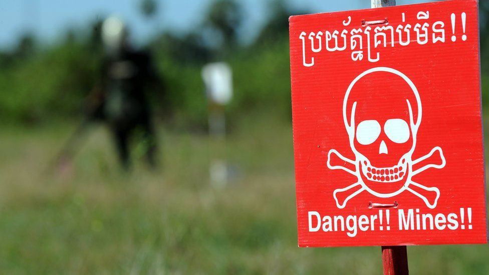 A mine warning sign in Cambodia