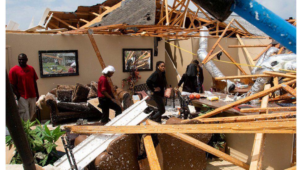 Wreckage from a tornado in Monroe, Louisiana