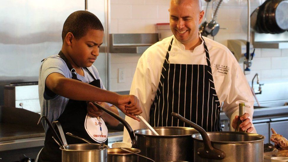 Chase Bailey cooking with another chef
