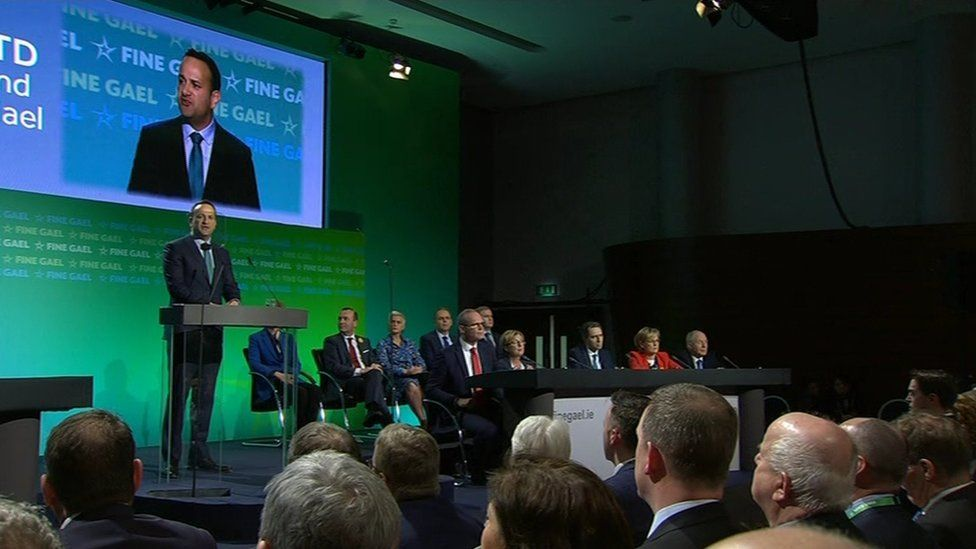 Leo Varadkar speaking at party conference