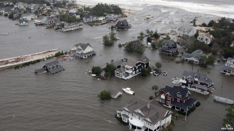 Aerial views shows the damage caused by Hurricane Sandy to the New Jersey coast
