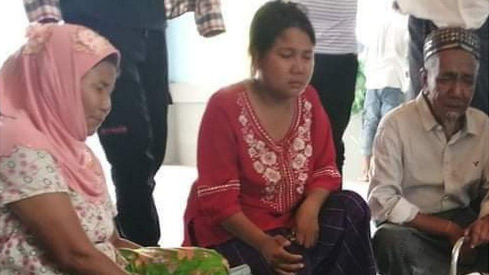 Pictures of Khin Myo Chit's family mourning her death