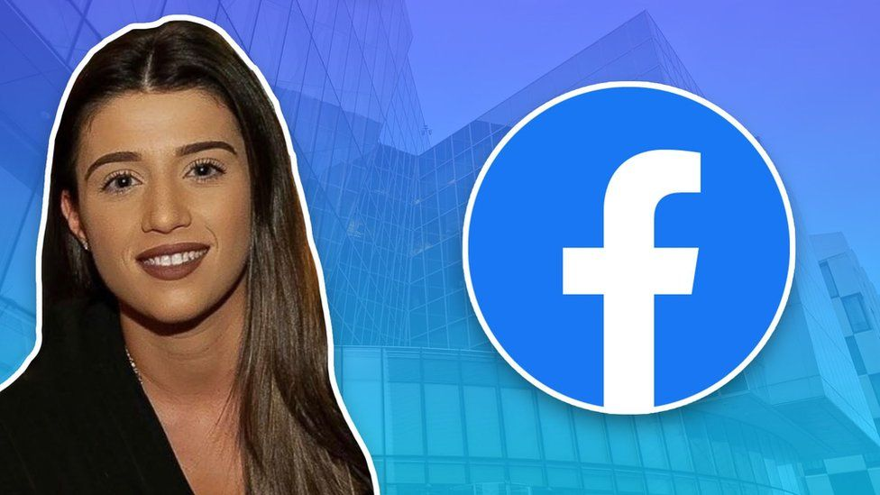 Isabella Plunkett with a Facebook logo in front of Dublin HQ