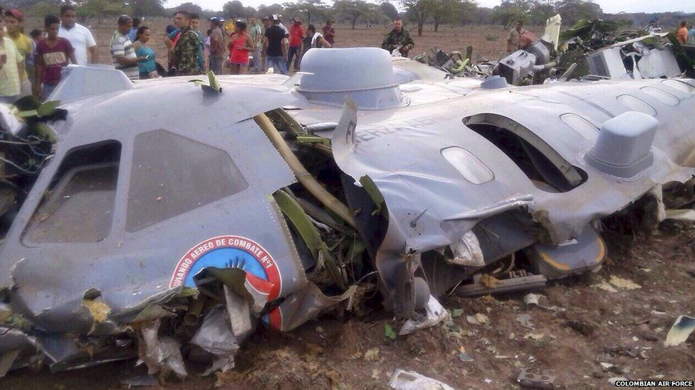 Debris of a crashed transport plane of Colombian Air Force is seen near the town of Codazzi, Colombia (31 July 2015)