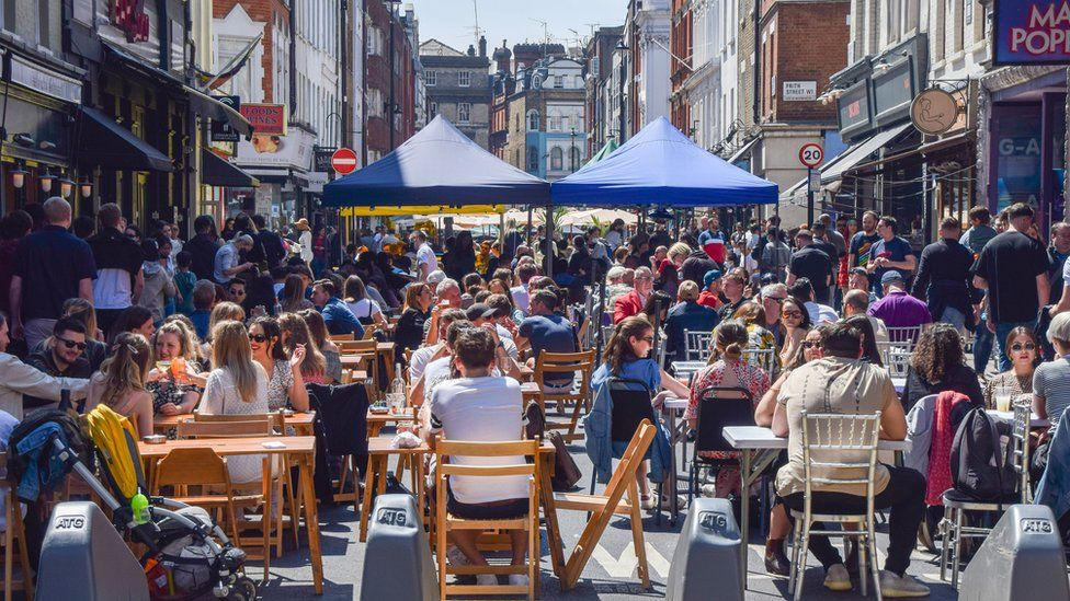 Busy restaurants in Old Compton Street, Soho over the bank holiday weekend.