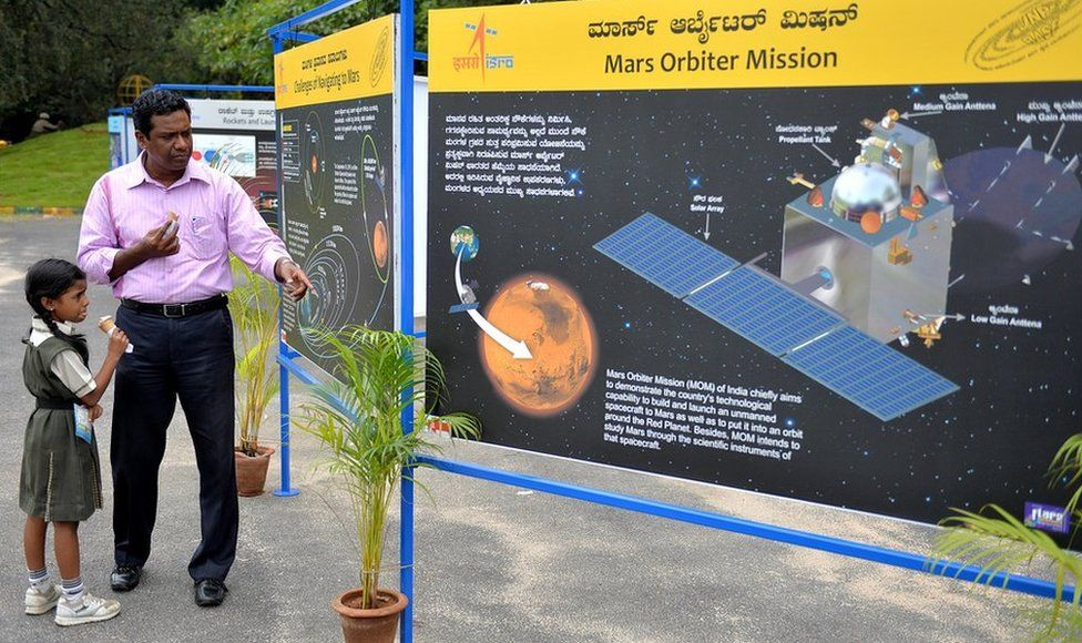 A father and daughter look at a Mars poster at the Nehru Planetarium as a special preview on India's maiden Mars Mission, in Bangalore on September 23, 2014
