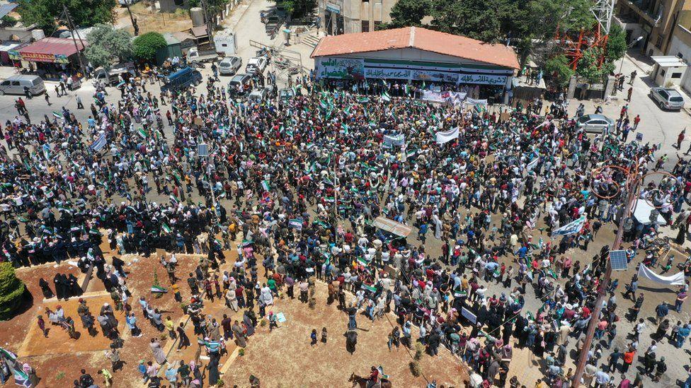 Protesters in Idlib