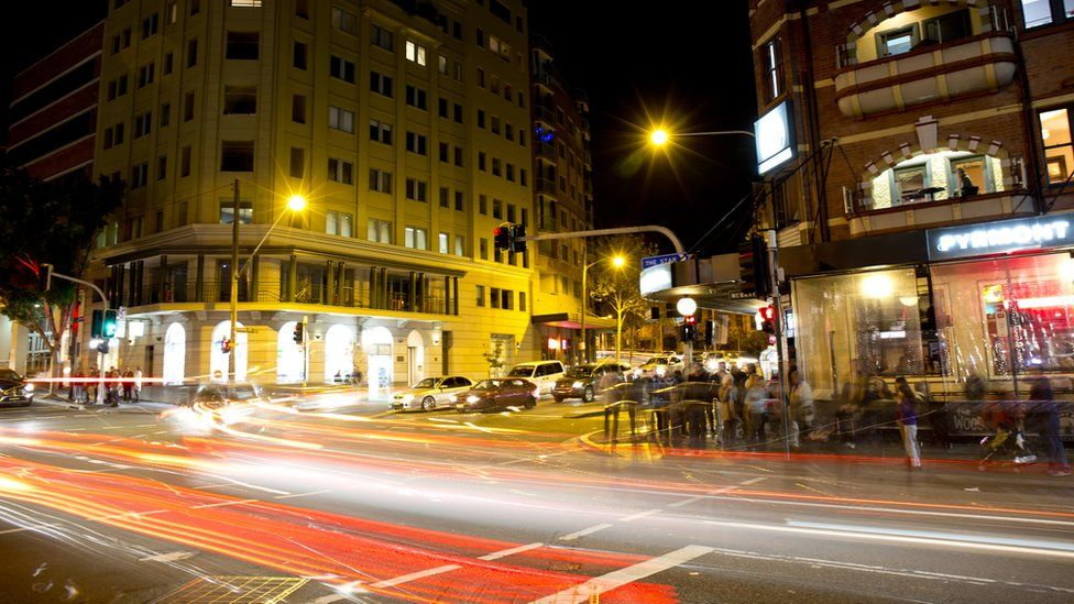 An image of a street at night in Sydney's inner Pyrmont suburb