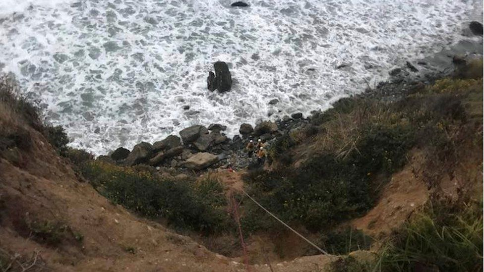 The cliff down which Ms Hernandez's car plunged