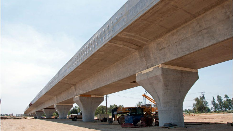 In this handout image provided by the California High-Speed Rail Authority, Construction of the Fresno River Viaduct seen between Raymond Road and Watson Street