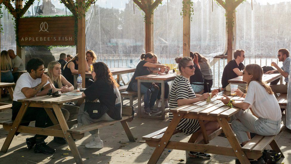 Small groups of people sitting with tables placed at safe distances at a pub in Waterloo, London