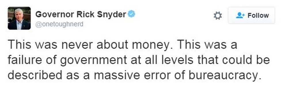 """Screen grab of tweet from Mr Snyder saying: """"This was never about money. This was a failure of government at all levels that could be described as a massive error of bureaucracy,"""""""