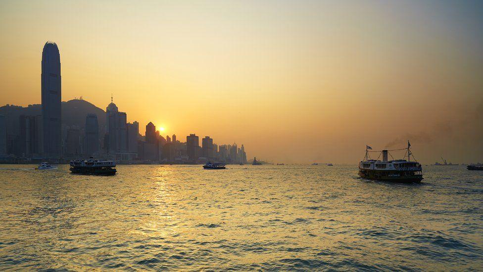Ferries heading to Hong Kong Island