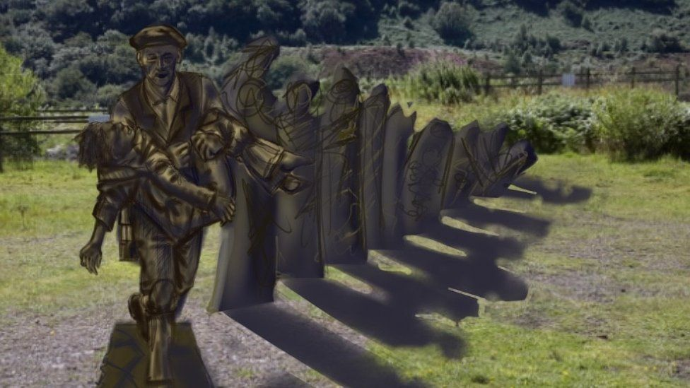 Artist impression of the proposed Llanerch colliery disaster memorial