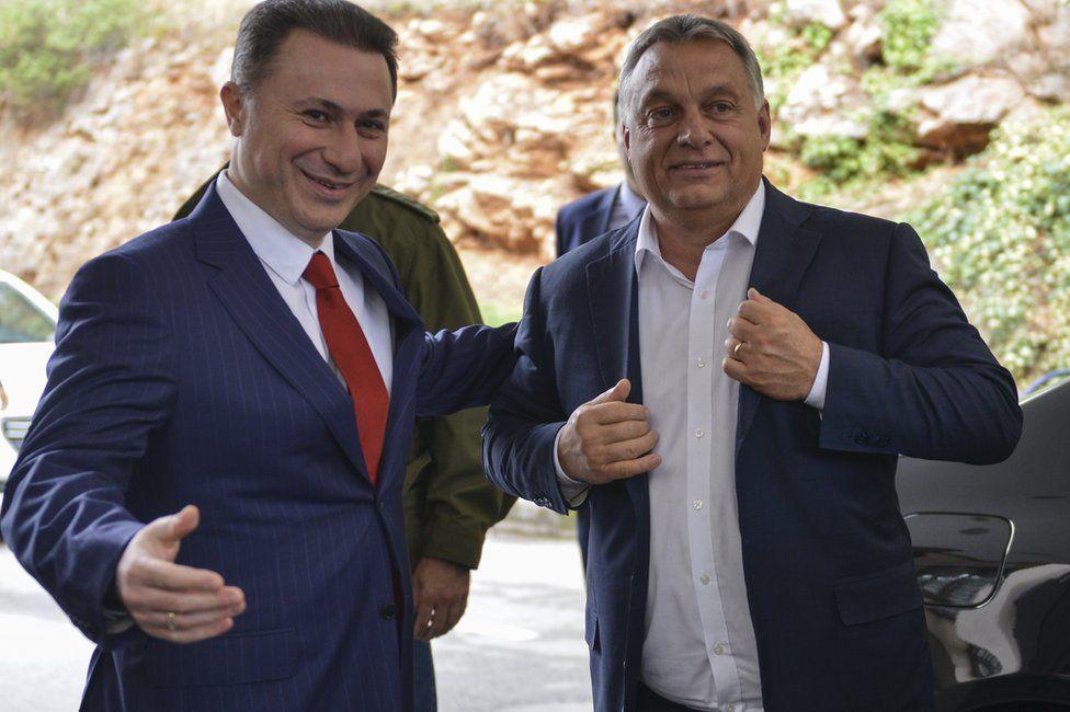 Nikola Gruevski (L) welcomes Hungarian Prime Minister Viktor Orban (R) in Ohrid, Macedonia, 28 September 2017
