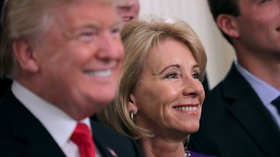 Education secretary Betsy DeVos has delayed putting in place debt relief rules