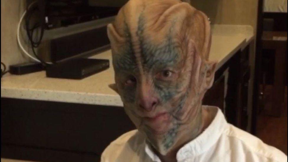Jeff Bezos dressed as an alien for Star Trek