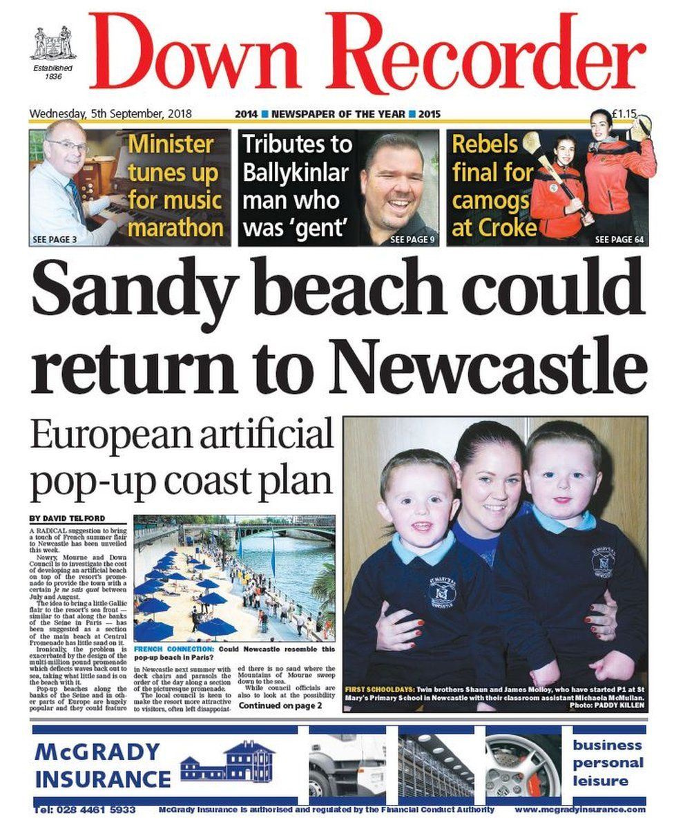front page of the Down Recorder Wednesday 5 September 2018