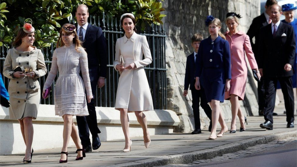 Princesses Beatrice and Eugenie, Prince William and Catherine, the Duchess of Cambridge