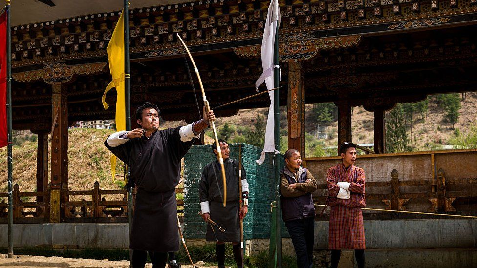 The local men practise their archery skills, taken in Bhutan, April 2016