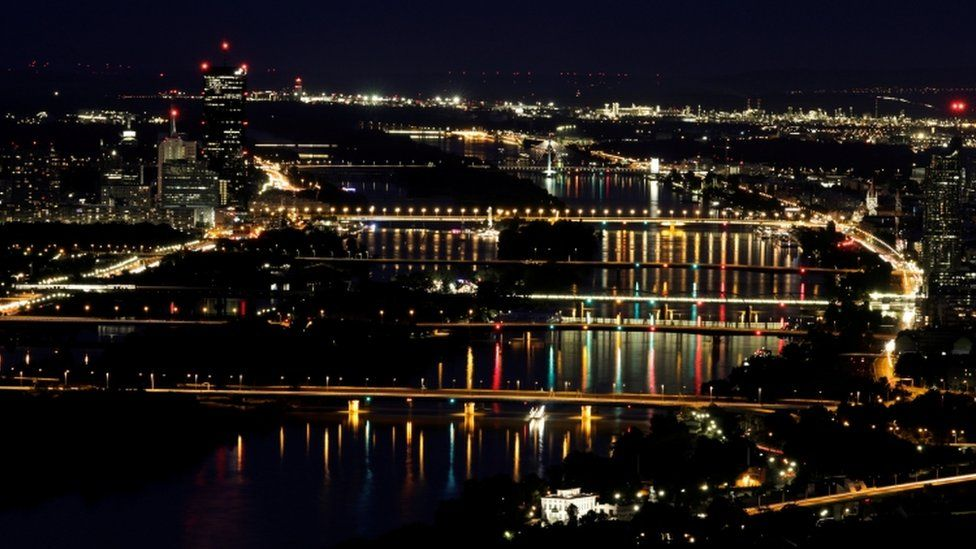 Night view of the Danube river in Vienna