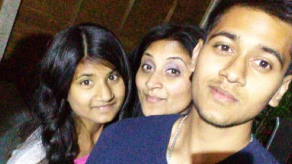 Sapna Patel with her mother and brother