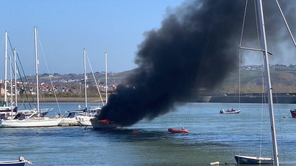Yacht on fire