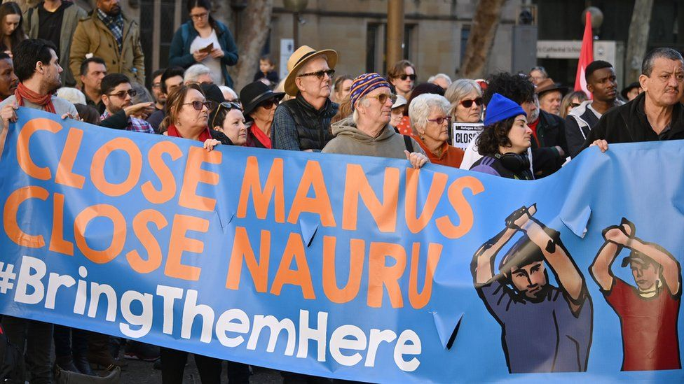 Asylum-seeker advocates protest in Melbourne for the closure of Australia's offshore detention centres