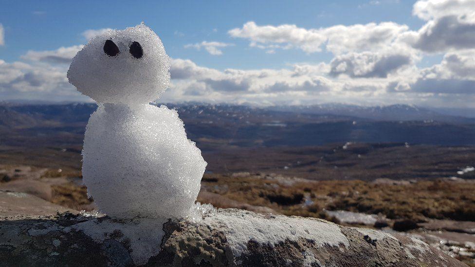 A snowman on top of Ben Mor Coigach
