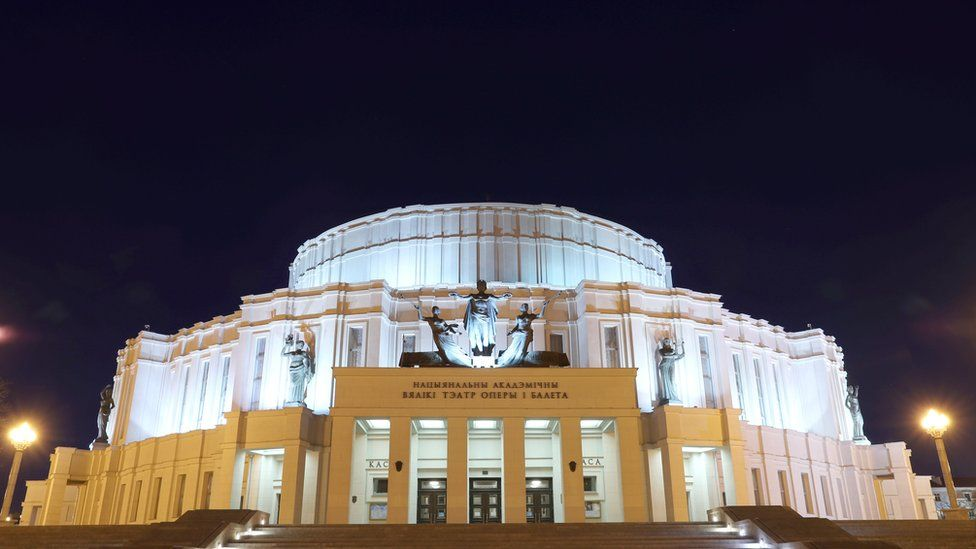 "The Bolshoi Opera and Ballet Theater of Belarus is seen with lights on before the ""Earth Hour"" in Minsk, Belarus"