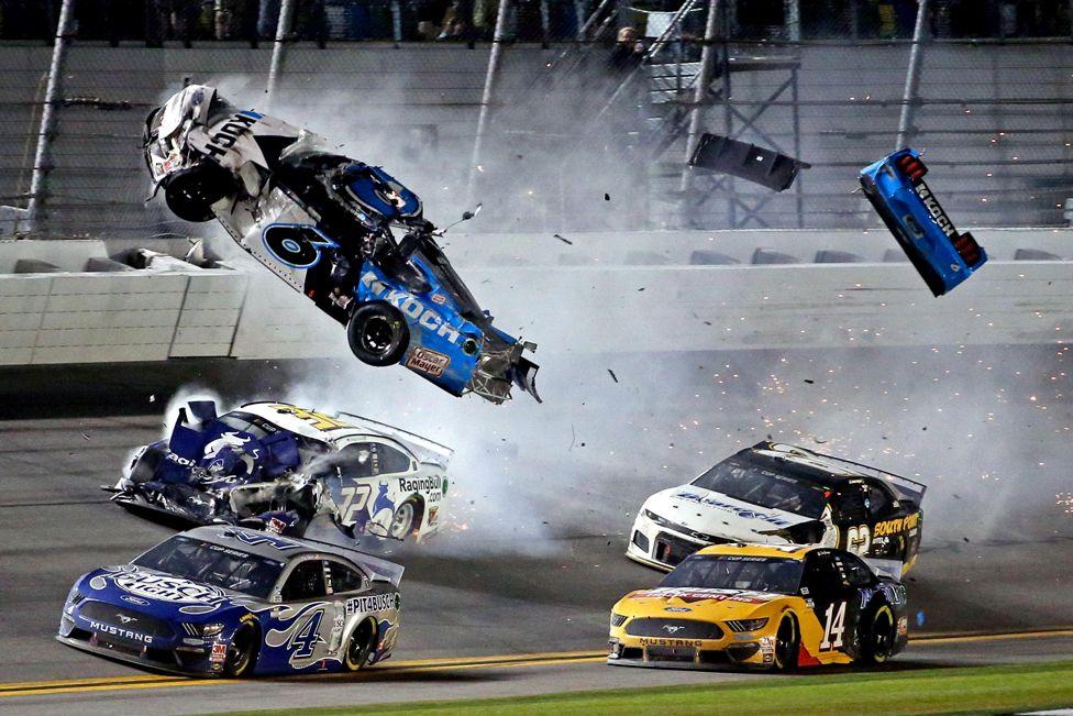 Nascar Cup Series driver Ryan Newman's car (6) crashes during the Daytona 500 at Daytona International Speedway. 17 February 2020