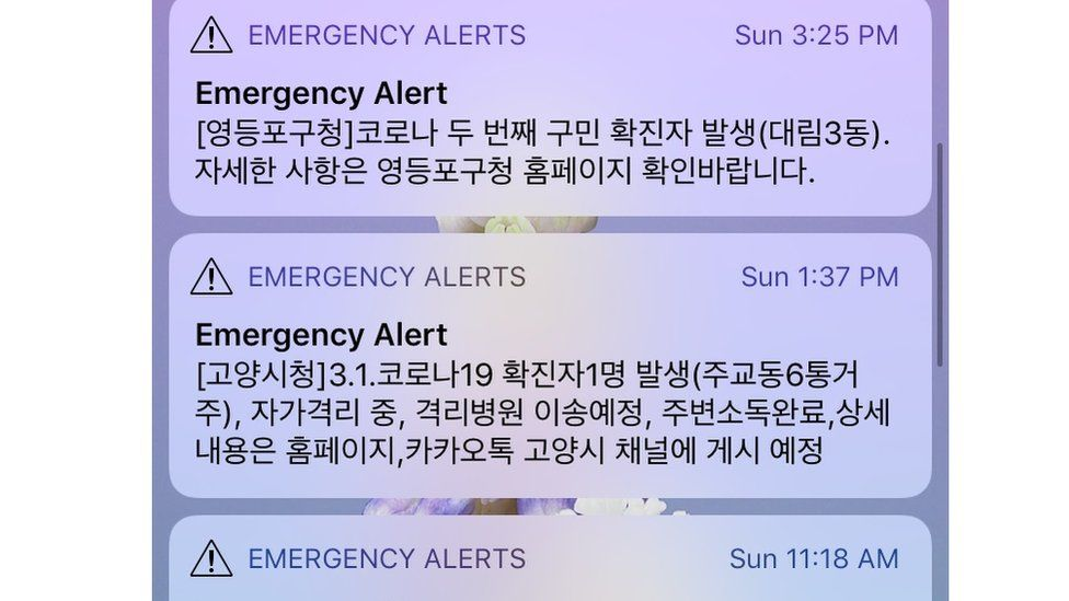 Examples of the messages Koreans get, alerting them to new cases