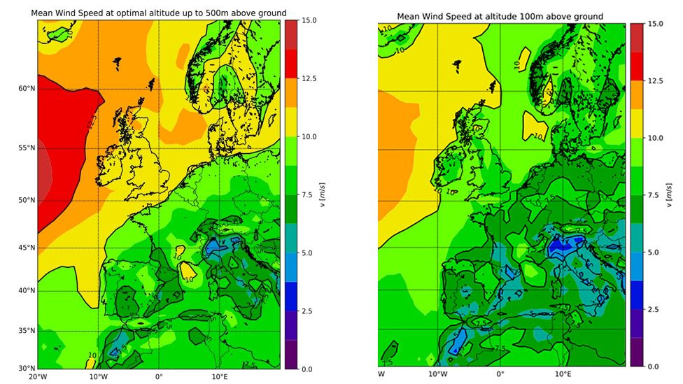 Map of Europe showing wind speeds at 100m and 500m